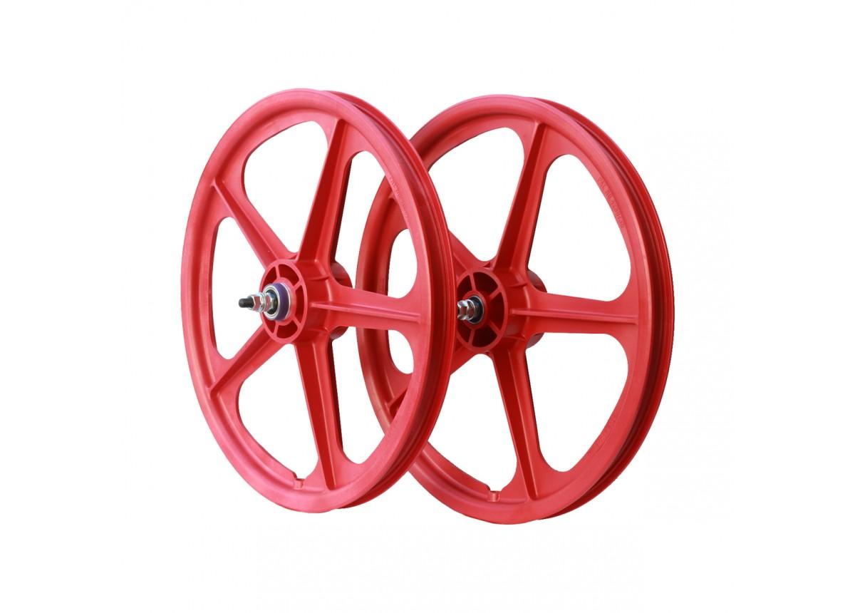 """20/"""" x 1.75/"""" Skyway BMX Wheel Tuff II Rear Wheel Red 5 Spoke"""