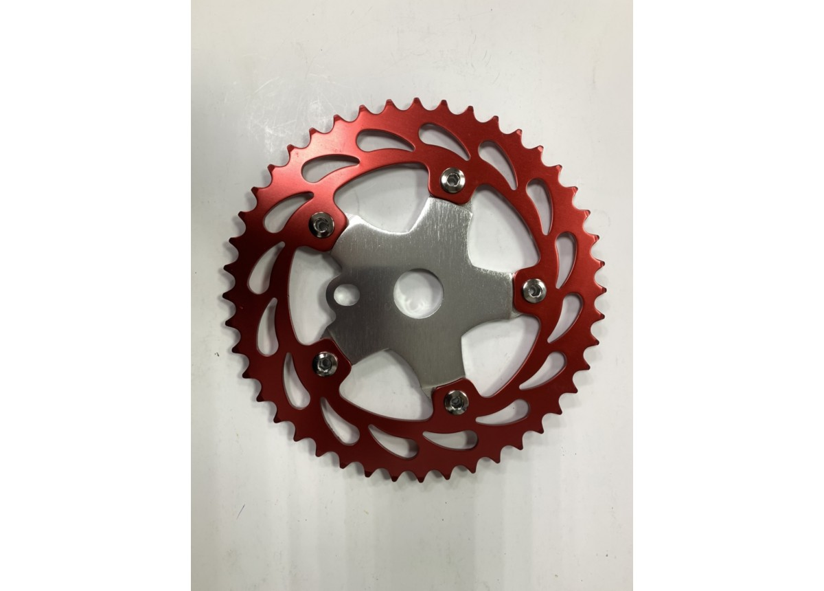 Old School BMX 44T Alloy Chain Wheel and Spider Red